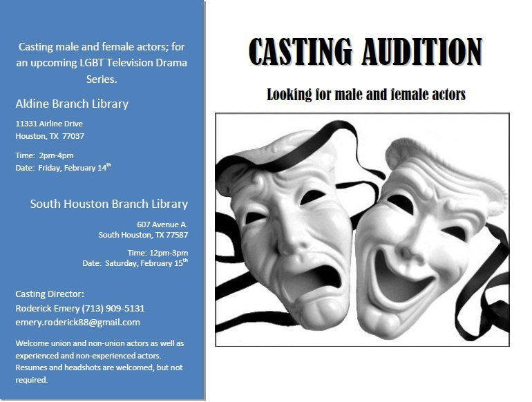 Houston Texas casting auditions for LGBT TV show pilot
