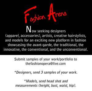 Fashion Arena casting flyer