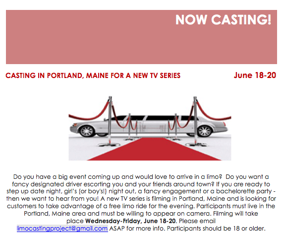 now casting new reality show in Portland Maine