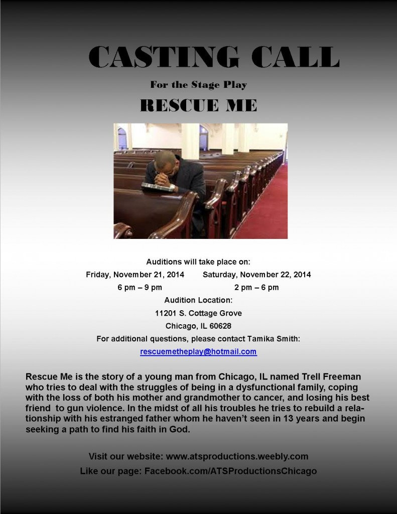 Casting call flyer for Rescue Me in Illinois