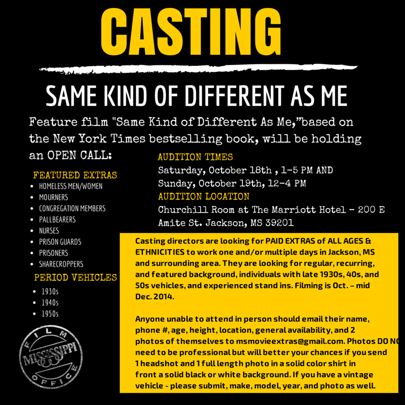 Casting Call in Mississippi