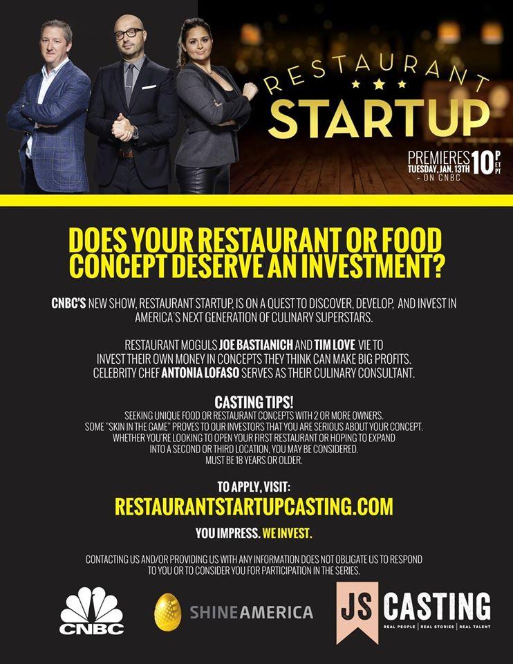 casting call flyer for Restaurant Startup