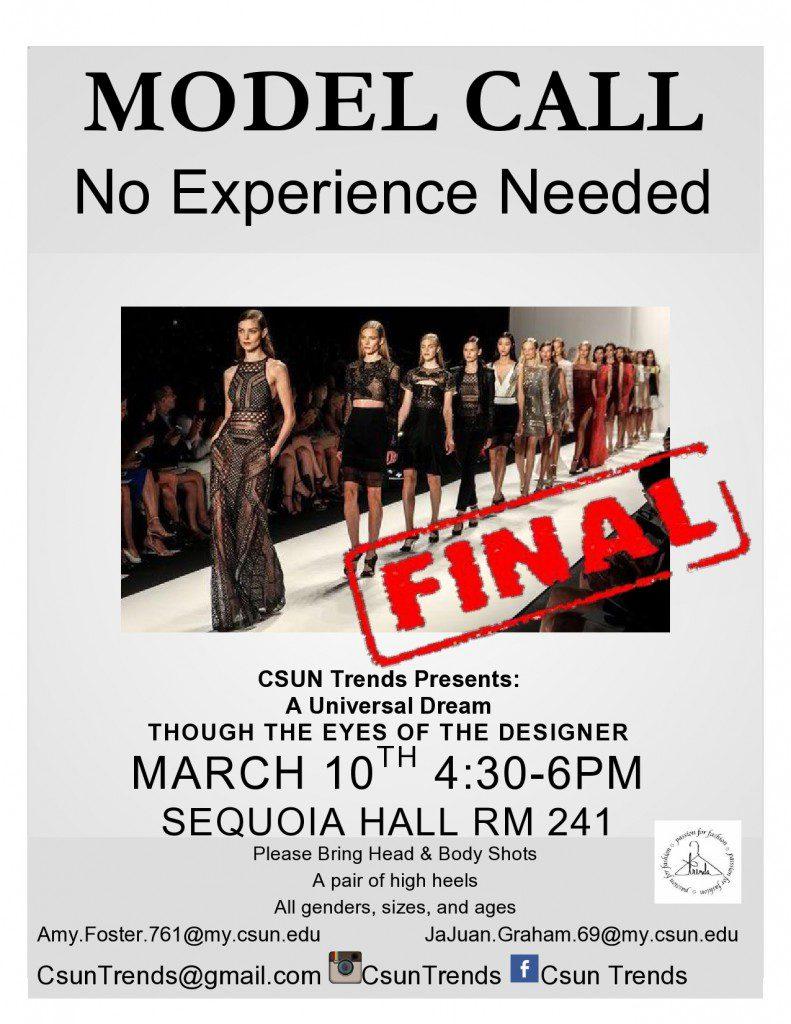 model call in Northridge, CA for fashion show