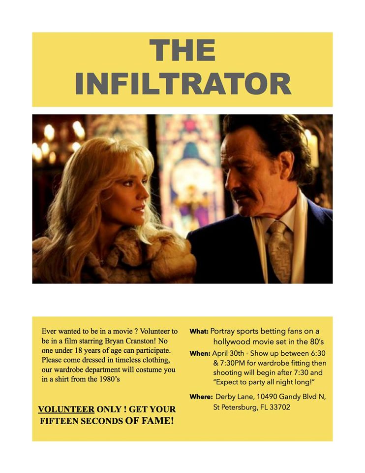 Bryan Cranston The Infiltrator movie casting call in Tampa Bay