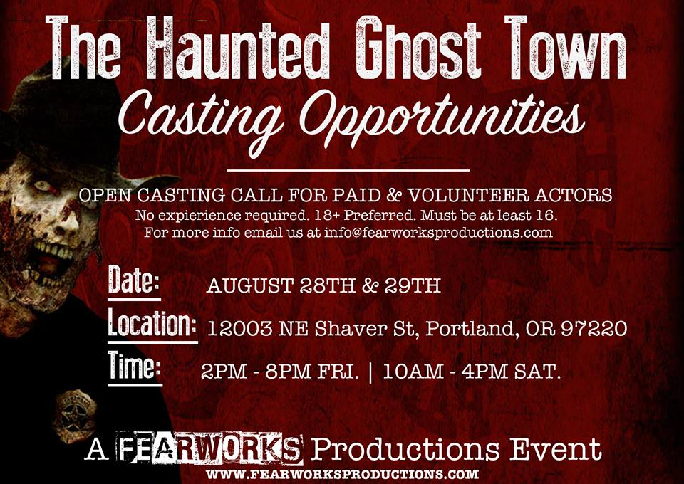 Zombie actors for haunted ghost town show