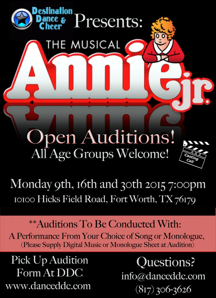 audition flier for Annie Jr. in Texas