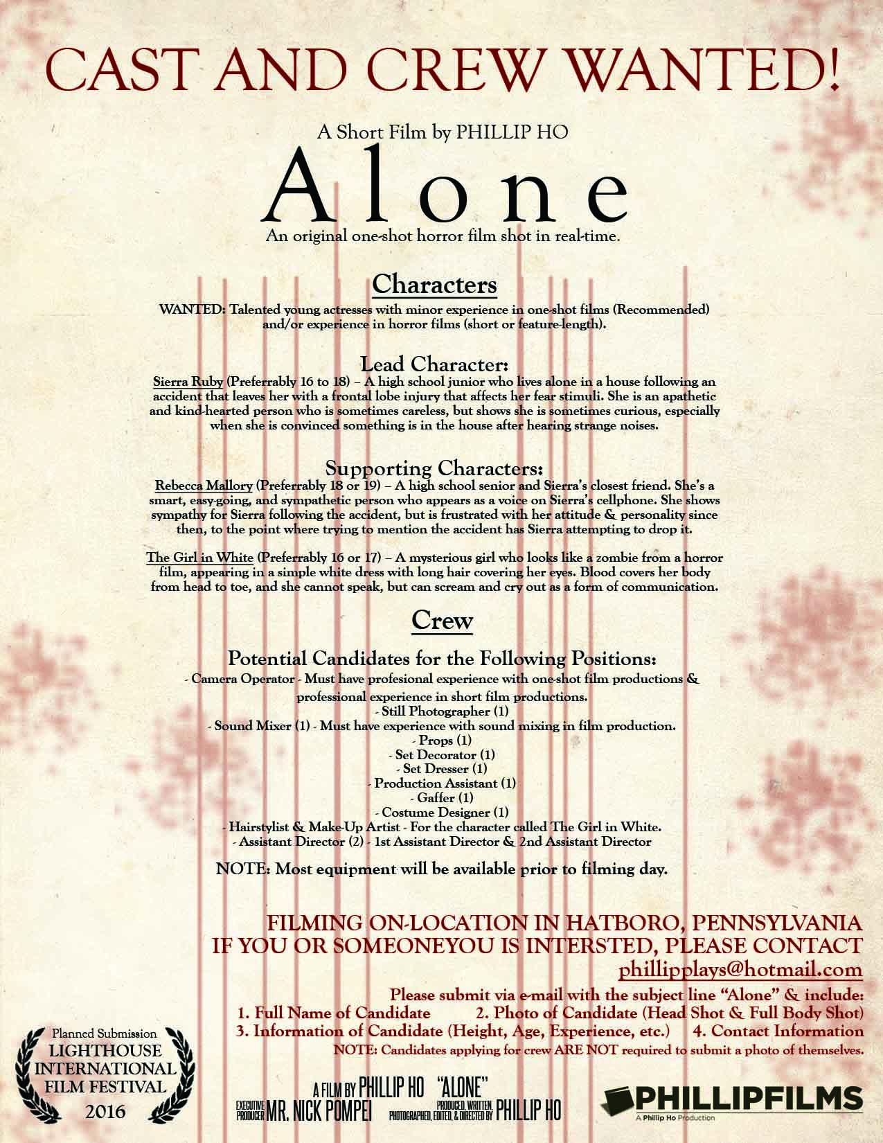 Alone Casting Call Crew Volunteer Poster