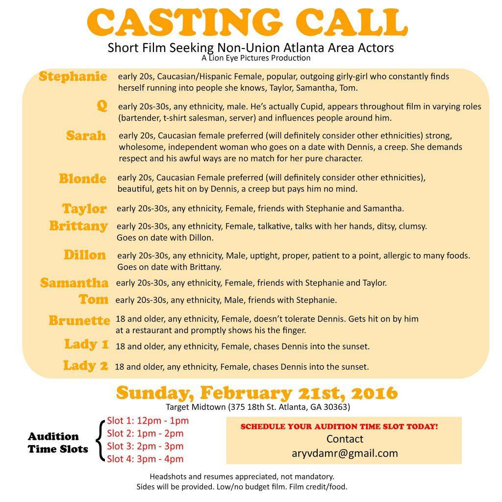 audition flyer for short film in Atlanta