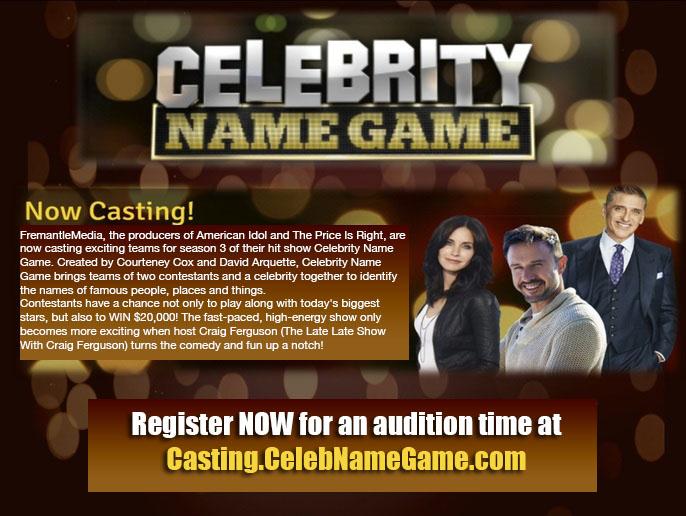 Celebrity Name Game audition flyer