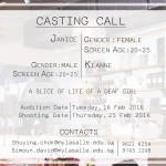 Auditions in Singapore for Student Movie Project