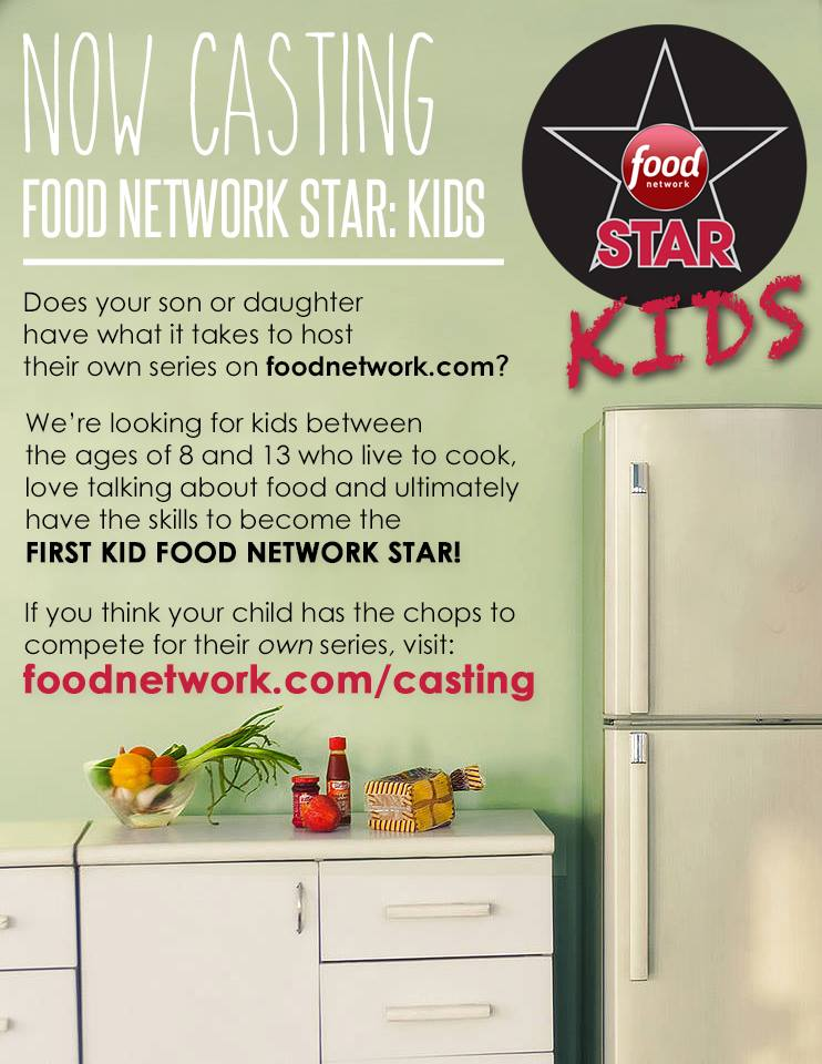 casting flyer for food network stars kids