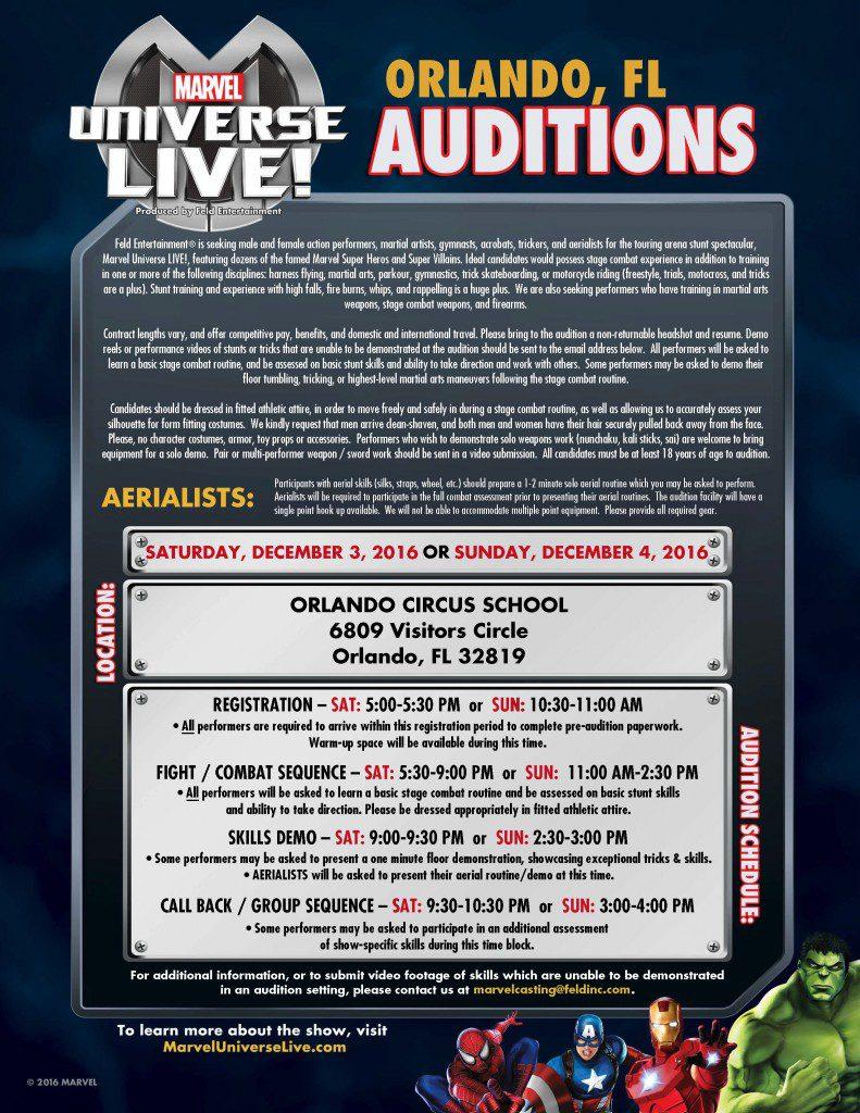 Marvel Orlando casting notice