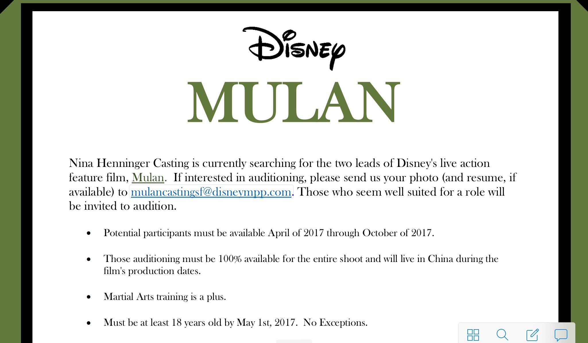 Disney Movie Auditions – Lead Roles in