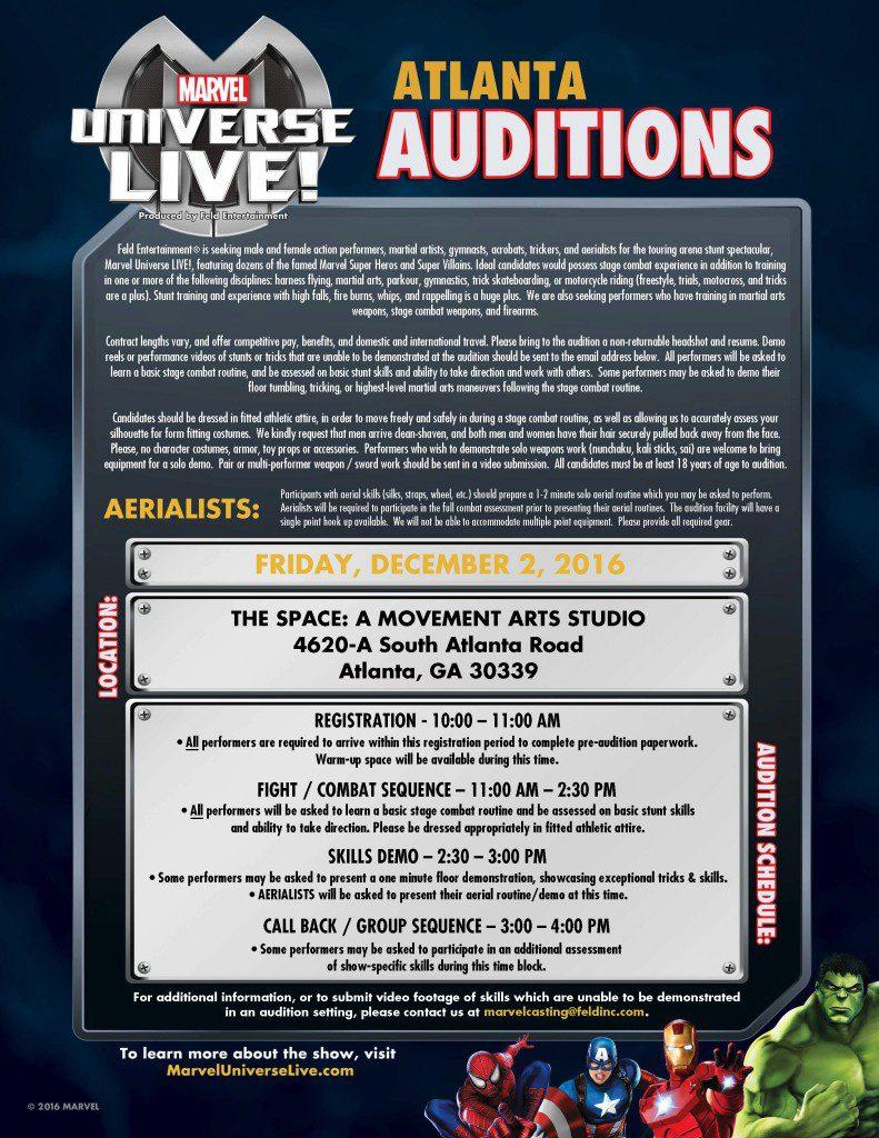 Marvel auditions in Atlanta