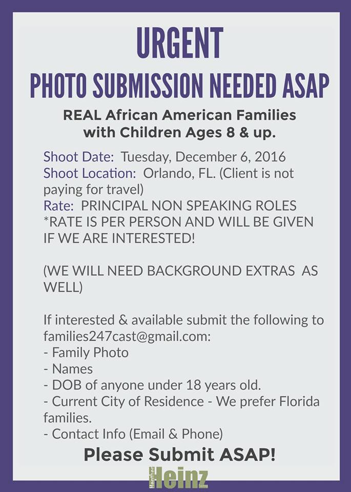 Orlando TV commercial auditions