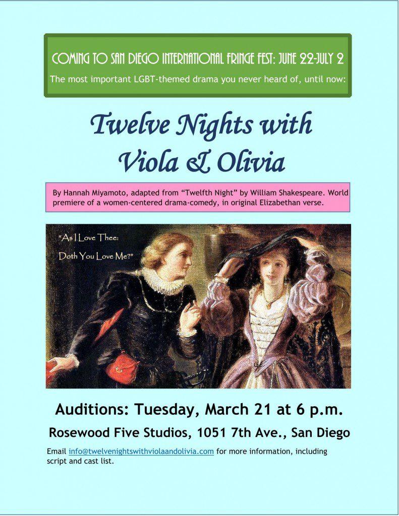 Twelfth Night San Diego performance auditions