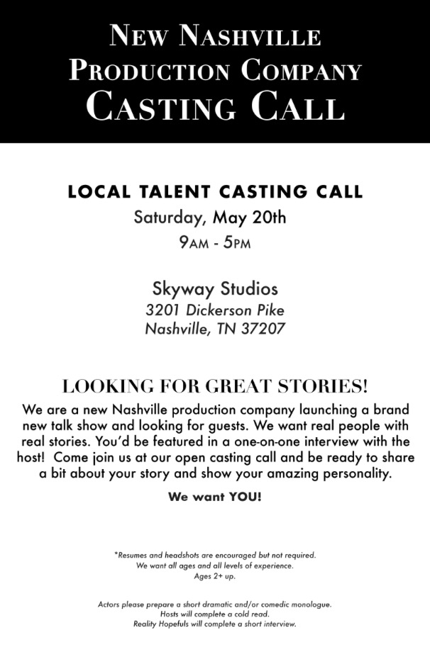 new talk show holding open casting call in nashville