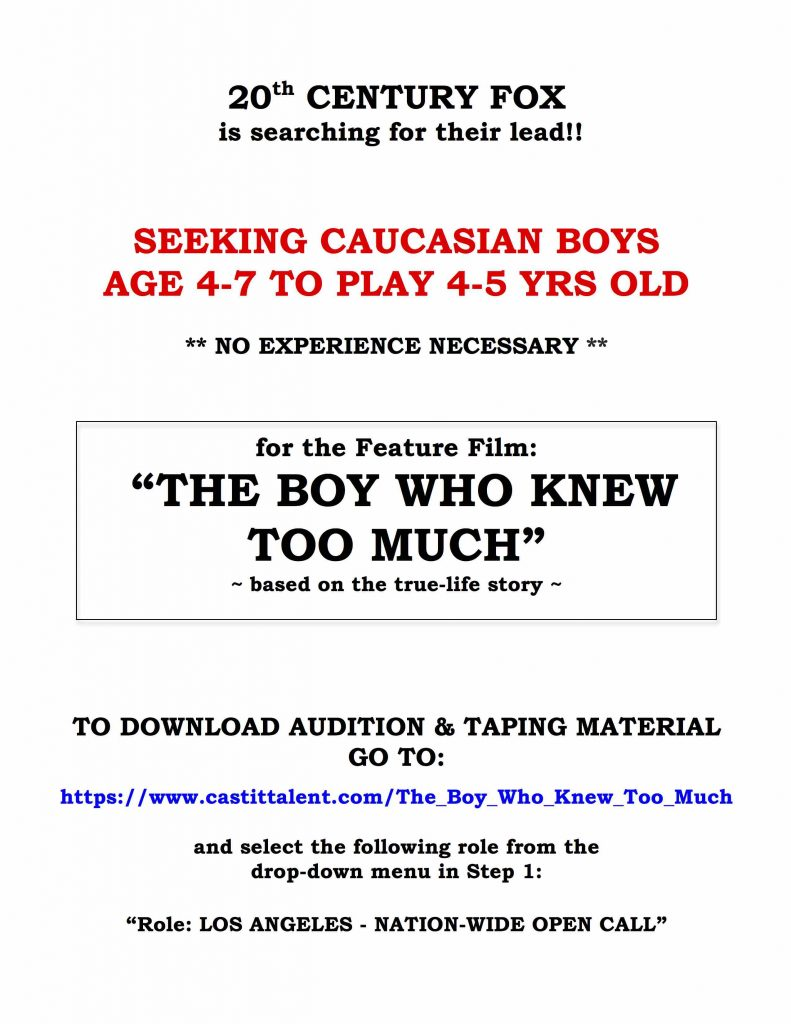 Video Auditions for Kids – 20th Century FOX Movie