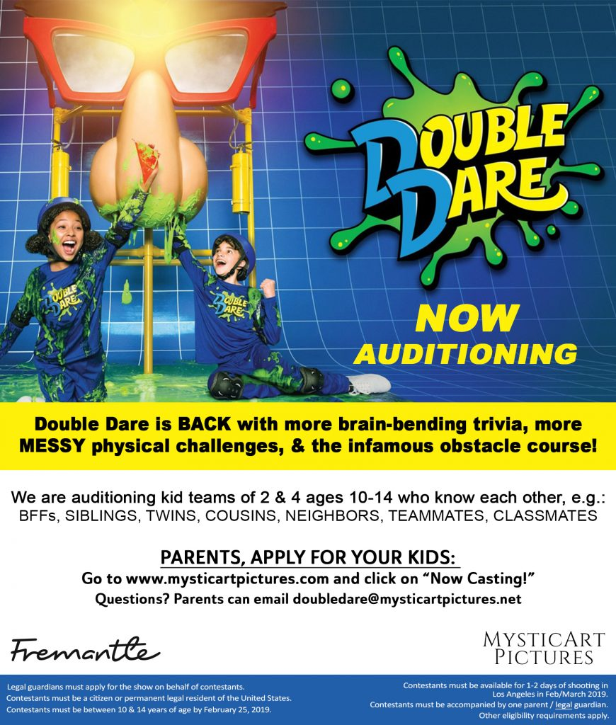 Auditions for Nickelodeon Show Double Dare | Auditions Free