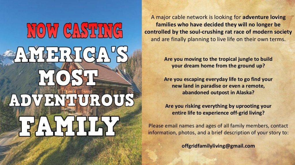 Nationwide Casting Call for Adventurous Families