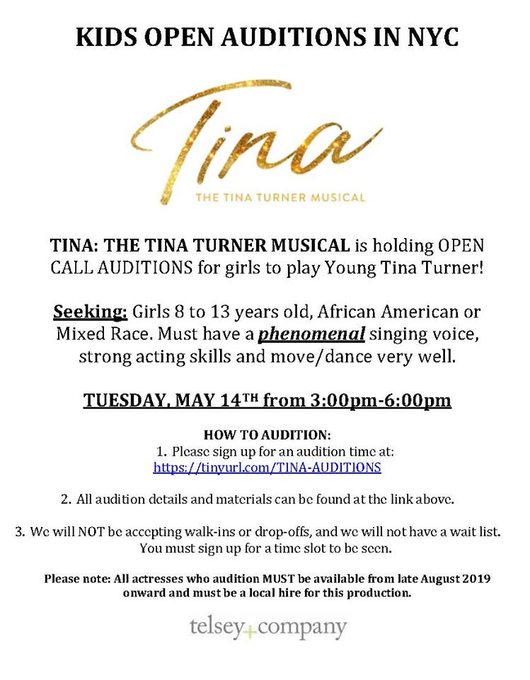 Open Auditions for Kids – Tina: The Tina Turner Musical in