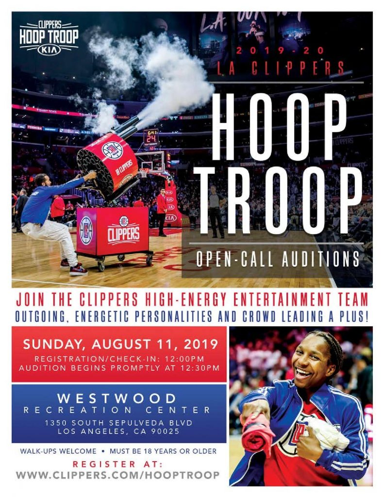 Auditions in Los Angeles for the NBA Clippers Hoop Troop