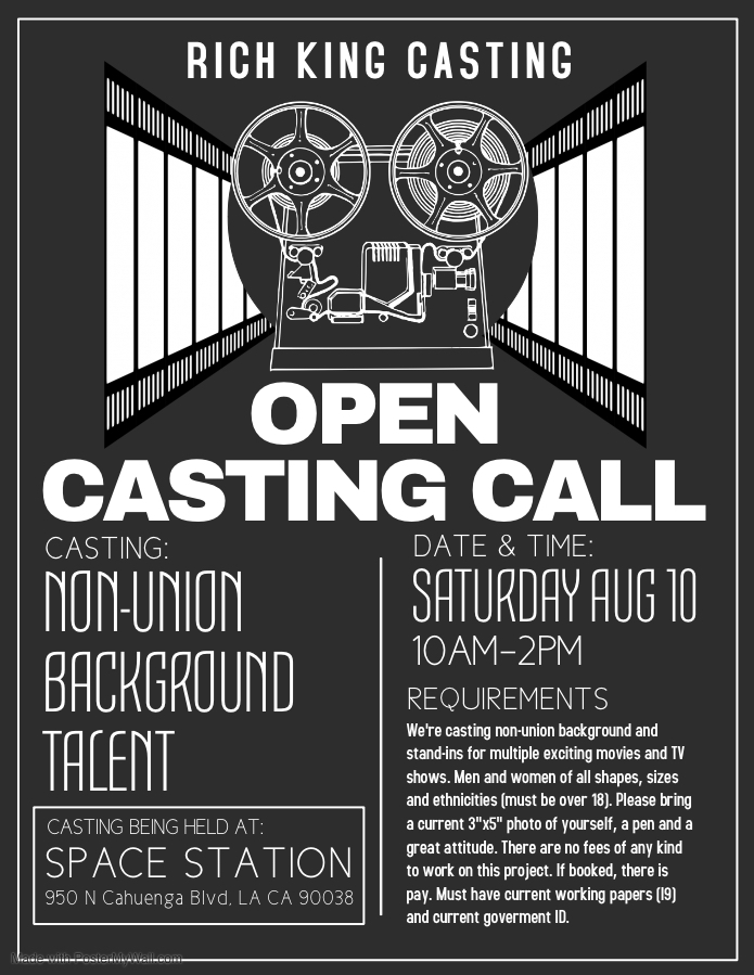 Open Casting Call In Los Angeles For Paid Movie Extras Auditions Free