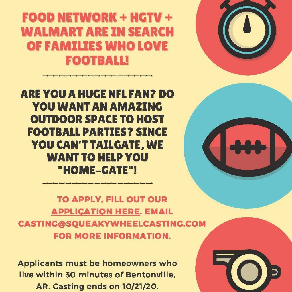 Casting Arkansas Families Who Are Huge NFL Fans for a Free ...